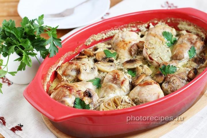 куриные ножки в духовке в соусе сливочном
