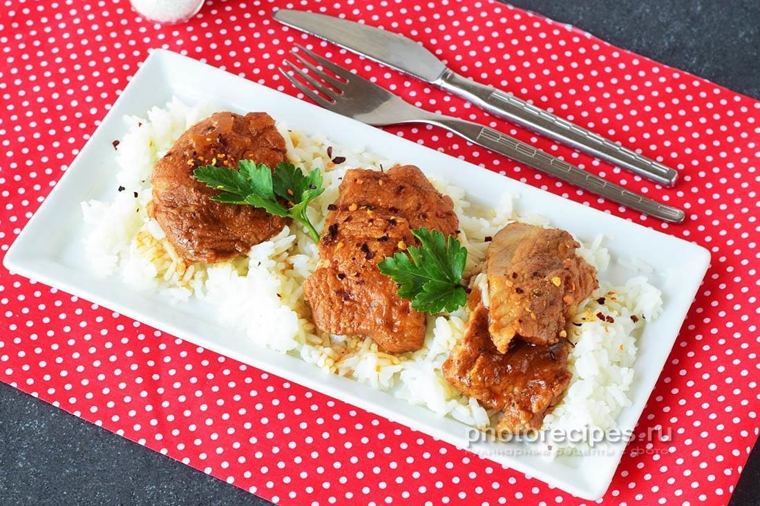 Шашлык на сковороде из свинины