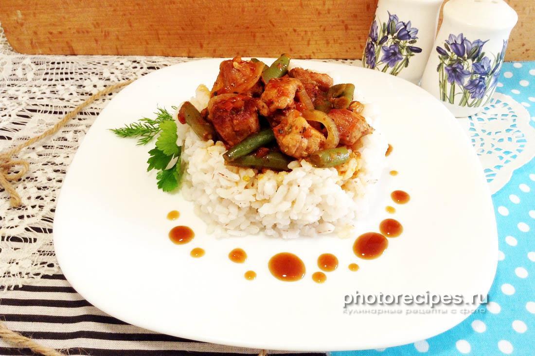 Пикантная свинина с рисом