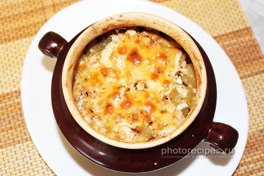 Свинина с картошкой и грибами в горшочках рецепт с пошагово